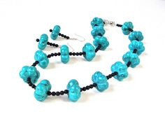 Chunky turquoise statement necklace set - blue and black rustic stone necklace - unique turquoise and onxy bead necklace