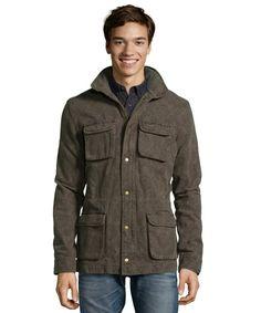 SLATE & STONE green olive floral cotton 'Roland' cargo pocket hooded jacket