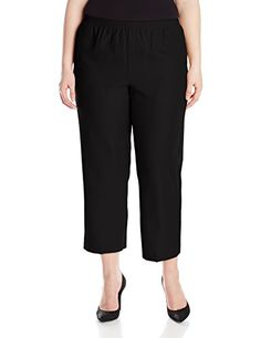 Alfred Dunner Womens Plus Short Pant Black 16W -- Check this awesome product by going to the link at the image.(This is an Amazon affiliate link and I receive a commission for the sales)