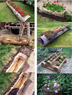 wooden log garden area