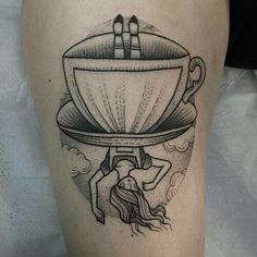 Black&white alice in wonderland falling tea cup tattoo