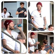 David watched LA Galaxy game With Brooklyn and Romeo #davidbeckham #brooklynbeckham #tomeobeckham