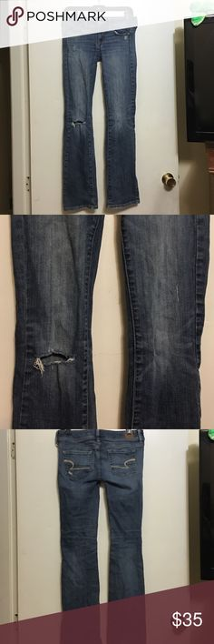 American eagle jeans Slim boot style, one hole in the right knee American Eagle Outfitters Jeans Boot Cut