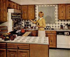 vintage kitchen photos, old kitchens, century kitchens, kitchens 1960s Kitchen, Old Kitchen, Vintage Kitchen, Vintage Cooking, Vintage Pyrex, Kitchen Tools, Kitchen Ideas, Cast Iron Kettle, Cast Iron Stove