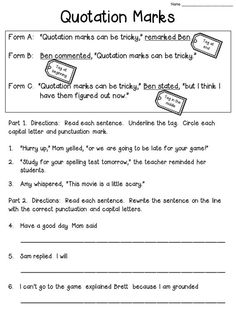 Quotation Marks Worksheet FREEBIE (Check the blog post to see the anchor chart!):