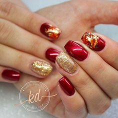 Autumn nails fall by katie dutra winter holiday nail designs - small Gold Nail Designs, Christmas Nail Art Designs, Simple Nail Art Designs, Easy Nail Art, Nails Design, Toe Designs, Salon Design, Design Art, Design Ideas