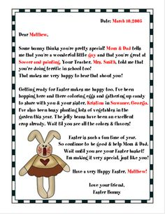 A Printable Letter From The Easter Bunny To A Christian Child