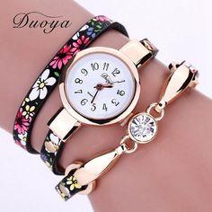 Duoya Luxury Women Brand Thin Leather Rose Gold Bracelet Watch Women Crystal Quartz Wristwatch Montre Female Women Girl Watch