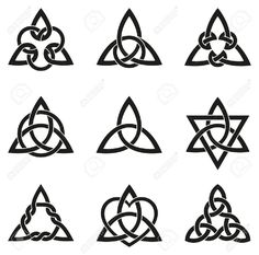 Stock Vector A variety of celtic knots used for decoration or tattoos. Nine endless basket weave knots. These knots are most known for their adaptation for use in the ornamentation of Christian monuments and manuscripts. Celtic Symbols, Celtic Art, Irish Symbols, Celtic Runes, Celtic Decor, Celtic Dragon, Celtic Knot Tattoo, Celtic Knots, Celtic Tattoo Meaning