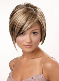brown with blonde hair in a bob cut | Stacked Swing Bob Haircut