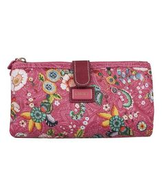 Loving this Pink French Flowers Double Flat Clutch & Pocket Mirror on #zulily! #zulilyfinds