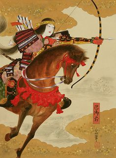 Tomoe Gozen, a late twelfth-century female samurai warrior known for her bravery and strength.  http://en.wikipedia.org/wiki/Tomoe_Gozen
