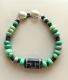 Gorgeous Chrysoprase and Hand Carved Wood Bracelet Sterling Silver Buttons Clasp