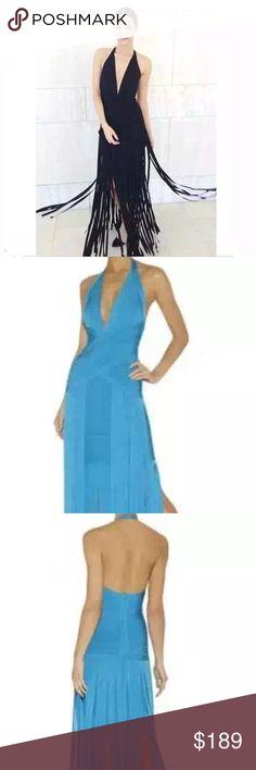 Celebrity bandages fringe dress MIDI/LONG celebrity high quality bandage dress come in blue or black, sizes S/M/L hugs you body like spank. Herve Leger Dresses Midi