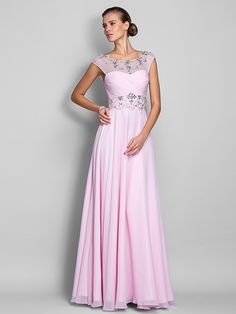 TS Couture Prom / Military Ball / Formal Evening Dress - Blushing Pink Plus Sizes / Petite A-line Scoop Floor-length Chiffon - USD $ 110.39