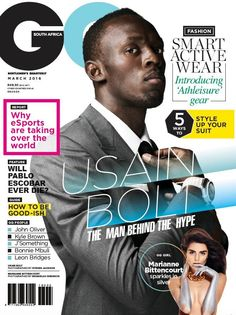 GQ South Africa, March 2016 (via Male Fashion Trends). Magazine Cover Layout, Magazine Front Cover, Magazine Layouts, Black Magazine, Male Magazine, Usain Bolt, Magazine Design, Ui Design Principles, Sports Magazine Covers