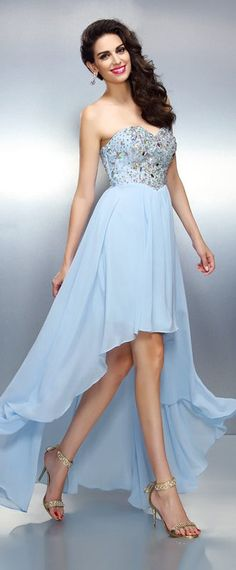 Elegant Prom Dress, Fashion A-Line/Princess Ruffles Sleeveless Sweetheart High Low Chiffon Cocktail Dresses Stay on trend with this beautiful prom dresses at Prom Dress Shop. Browse our latest collections, styles, and prices for prom Freshman Homecoming Dresses, Homecoming Dresses High Low, Strapless Prom Dresses, Graduation Dresses, Affordable Prom Dresses, Elegant Prom Dresses, Cheap Prom Dresses, Summer Dresses, Wedding Dresses