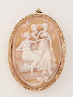 Vintage 10k Yellow Gold Large Three Graces Carved Shell Cameo Pin Pendant
