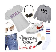 """White Sneakers"" by istyled ❤ liked on Polyvore featuring Topshop, John Richmond, American Retro, MAC Cosmetics, Frends and NIKE"