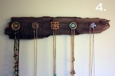 Doorknobs and driftwood necklace holder