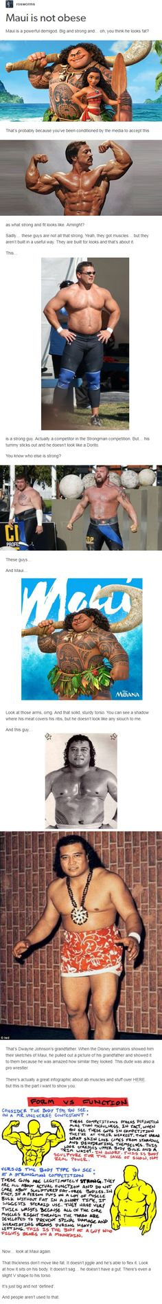 Maui is not obese Maui is a powerful demigod. Big and strong and… oh, you think he looks fat?