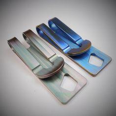 Money Clip Titanium / Petrol por EdcApparatus en Etsy