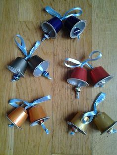 plastic cup recycled art: bells