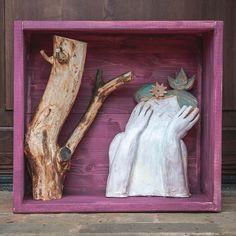 #sculpture #terracotta #wood #bird #woman #tree