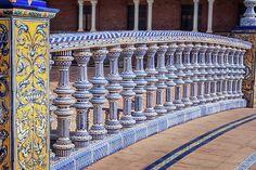 Bridge Tiling Plaza De Espana Seville by Joan Carroll