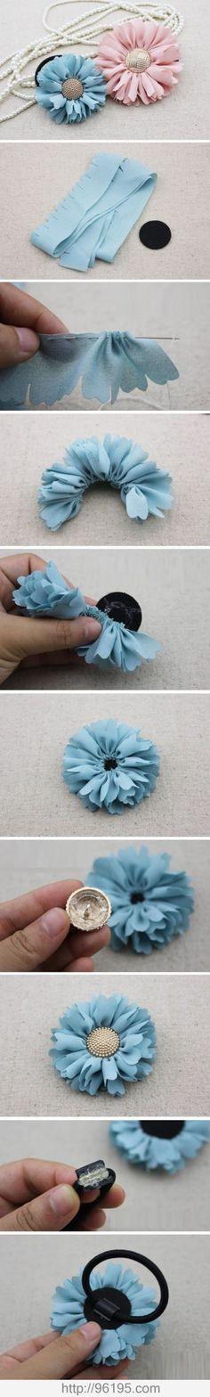 DIY Floral Hair Ties diy craft crafts diy crafts how to tutorials hair accessories Fabric Crafts, Sewing Crafts, Sewing Projects, Craft Projects, Sewing Diy, Craft Tutorials, Sewing Ideas, Handmade Flowers, Diy Flowers