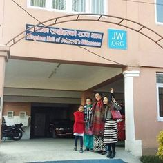 Getting the new sign at a kingdom hall in Kathmandu, Nepal.