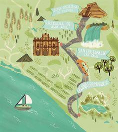 Chiapas map for Aeromexico Magazine on Behance