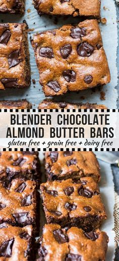 These easy blender chocolate almond butter bars are studded with dark chocolate chunks. Gluten free, grain free (paleo) and dairy free, a healthier dessert or indulgent snack!