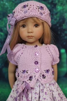 Handmade Embroidered Knit Outfit for Effner 13 Little Darling Dolls