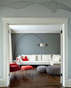 Grey Blues work well with warm timber floors and splashes of red