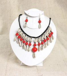 Cowrie Shell Jewelry Set - Red Exotic Handmade