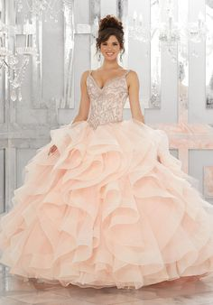 Beaded V-Neck Quinceanera Dress by Mori Lee Vizcaya Style 89148