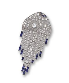 ART DECO DIAMOND AND SAPPHIRE BROOCH, FRENCH, ca.1920