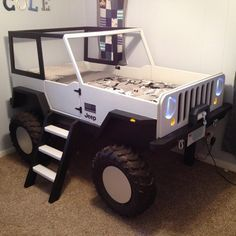 JeepBed has shared a new photo on Etsy- JeepBed hat ein neues Foto auf Etsy geteilt Jeep Bed Plans Twin Size Car Bed Kids Bedroom Furniture, Bedroom Decor, Cheap Furniture, Furniture Dolly, Furniture Online, Furniture Stores, Wooden Furniture, Furniture Nyc, Furniture Plans