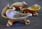 Wood Fired Leaf Bowls. Hand-built from slabs with added pulled feet. Pottery by Sally Anne Stahl