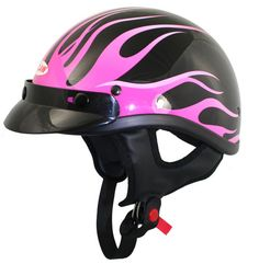 T69-T70 Outlaw Pink Flames Graphic Glossy Half Helmets