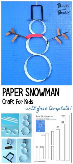 Easy Winter Craft for Kids: Paper Strip Snowman Craft with Free Printable Template- Make this 3-D snowman craft using paper strips. This easy craft is perfect for decorating the home or classroom for winter.