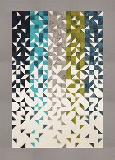 Thangles Shattered quilt kit with blue, green, turquoise, grey and dark blue colors. White background and grey border. Strips are all precision precut and ready to sew! Batik Quilts, Blue Quilts, Quilting Fabric, Mini Quilts, Machine Quilting, Quilt Kits, Quilt Blocks, Quilting Projects, Quilting Designs