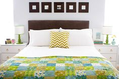 I love everything about this: the quilt, the nightstands (Ikea hack), the lamps, the mirrors, and especially that beautiful little picture of the Salt Lake Temple