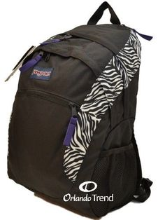 "Jansport Backpack Wasabi 15"" Laptop Black White Cosmo Zebra Poly Bag Women Girl #Jansport #Backpack #OrlandoTrend #Zebra"