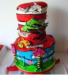 You gotta see the One Fish, Two Fish cake!!!    Incredibly fun ideas for a Dr. Seuss Baby shower!