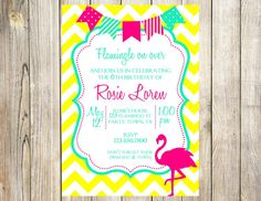 Neon Flamingo Pool Birthday Party Invitation by EmmyJosParties, $13.00
