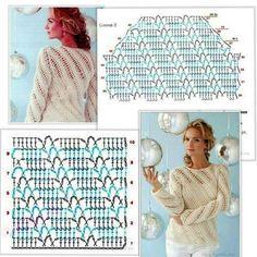 Débardeurs Au Crochet, Pull Crochet, Crochet Baby Dress Pattern, Crochet Flower Tutorial, Crochet Coat, Crochet Amigurumi Free Patterns, Crochet Shirt, Crochet Jacket, Crochet Diagram