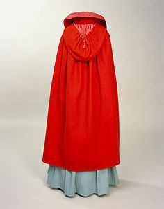 Bright red cloaks were popular from the early 19th century through the 1830s. They were made of wool and often had large hoods like this cloak, dated 1800-1820, England. Manchester Galleries # 1951.114. Found via the 18th Century Notebook.