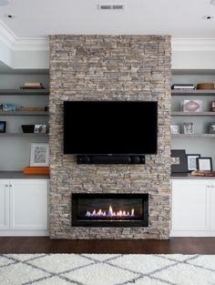 Top 2019 tv over fireplace viewing angle for 2019 Fireplace Tv Wall, Linear Fireplace, Fireplace Built Ins, Fireplace Remodel, Modern Fireplace, Living Room With Fireplace, Fireplace Design, Living Room Remodel, Home Living Room